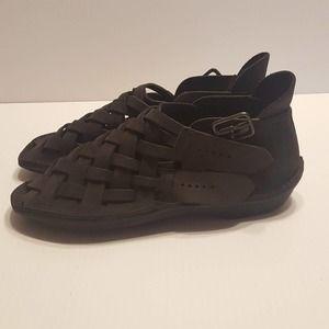 Loints of Holland Leather Ankle Sandals Black Sz 6